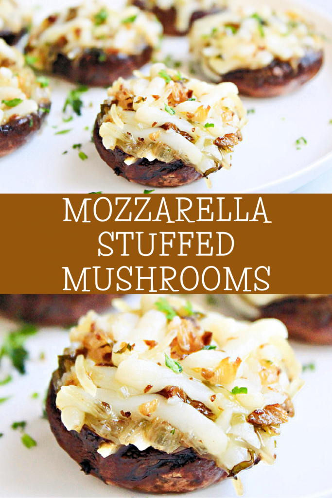 Mozzarella Stuffed Mushrooms ~ A classic appetizer! These cheese stuffed mushrooms are easy to make and great for holiday entertaining!