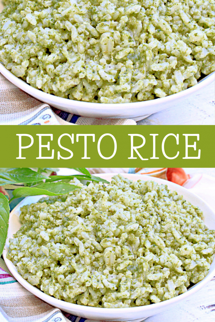 Pesto Rice ~ The light and herbaceous flavors of this creamy rice dish make it a nice addition to all sorts of dinner meals!