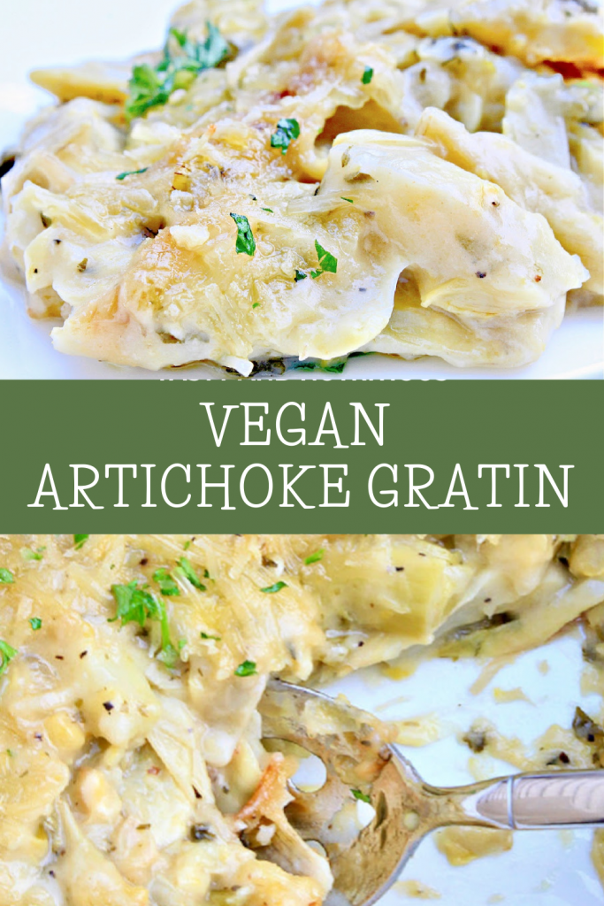 Artichoke Gratin ~ Artichokes smothered in a savory, creamy, dairy-free sauce then baked until bubbly. Simple and elegant for the holidays!