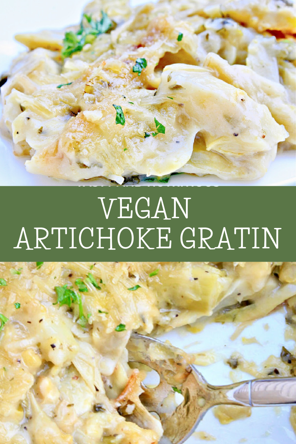 Artichoke Gratin ~ Artichokes smothered in a savory, creamy, dairy-free sauce then baked until bubbly. Simple and elegant for the holidays! via @thiswifecooks