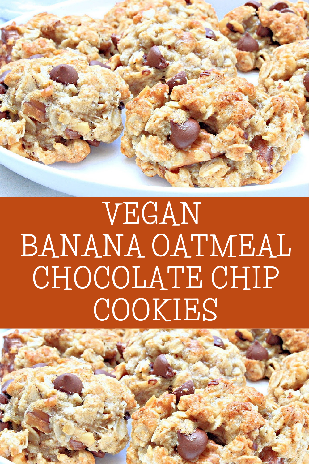 Vegan Banana Oatmeal Walnut Chocolate Chip Cookies ~ These chewy, easy-to-make, dairy-free cookies are perfect for packing in lunches or as an after-school snack! via @thiswifecooks
