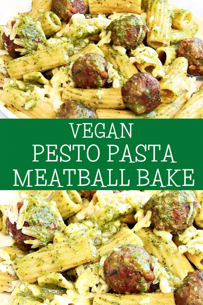 Vegan Pesto Pasta Meatball Bake ~ Six ingredients are all you need for this simple and comforting, plant-based weeknight dinner!