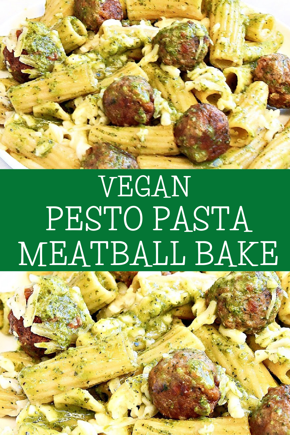 Vegan Pesto Pasta Meatball Bake ~ Six ingredients are all you need for this simple and comforting, plant-based weeknight dinner! via @thiswifecooks