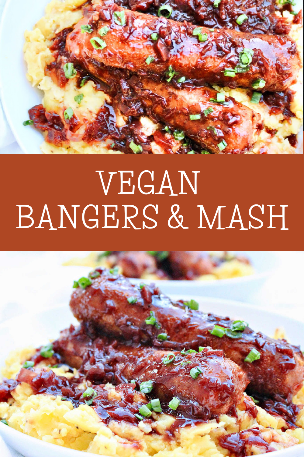 Bangers and Mash ~ A plant-based remake of the British classic with vegan bratwurst sausages, mustard-infused mashed potatoes, and onion gravy! via @thiswifecooks